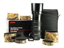 Sigma DG 150-500mm F5-6.3 APO HSM OS Lens Boxed + F/R Lens Cap,Hood & Case Nikon