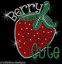 Strawberry Berry Baby Child Cute Rhinestone Bling Transfer Hot Fix Iron On 51-91