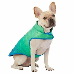 Top Paw Dog Ombre Puffer Rain Coat Green/Pink XS-XL Waterproof Carry Pouch