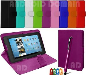 """Plain Flip Book Case Cover Stand Fits 7"""" Inch ALBA Tablet with Free Stylus"""