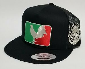 JALISCO MEXICO   HAT MESH TRUCKER BLACK  SNAP BACK ADJUSTABL  NEW 2LOGOS