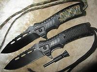 2 x 3 in 1 Einhandmesser Paracord Firestarter schwarz/oliv Messer Taschenmesser