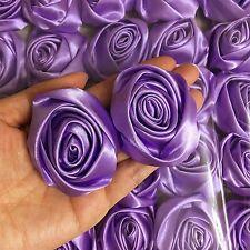 "Lot 12pc Lavender Satin Ribbon Rose Flowers Craft DIY Wedding Bouquet 50mm / 2"""