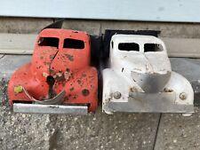 Vintage Metal Dump Trucks Old Toy Collectible Orange White Gift Lot Of 2