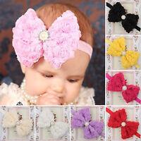 Newborn Baby Girls Flower Bow Knot Pearl Headband Elastic Kid Hair Band Headwear