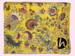 King/Twin Kantha Quilt Handmade Blanket Indian Bedding Throw 100%Cotton Coverlet