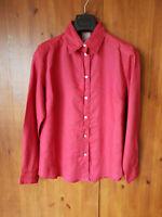 RRP £99 - POETRY SUMMER BLOUSE 100% Linen Dark Red Shirt Top UK 10 12 16 - NEW