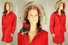 Vtg WOOLRICH Red Pure Wool Winter Parka Coat Coyote Fur Trim Hooded M
