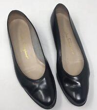 Vintage Salvatore Ferragamo 7 Black Leather Classic Flats