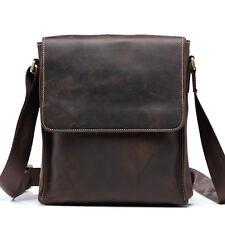 Men Crazy Horse Vintage Leather Messenger Shoulder Bag Hunter Coffee Tablet Bags