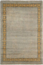 4X6 Hand-Knotted Gabbeh Carpet Modern Grey Fine Wool Area Rug C2187