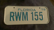 Vintage 1978 Cereal Mini Bicycle License Plate Florida EUC