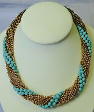 Vintage Necklace CORO c1940 Twisted Turquoise Enamel & Gold Metal Ball Chain 96