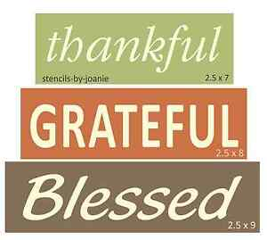 Prim Block Stencil Thankful Grateful Blessed Country Family Home Art Give Thanks