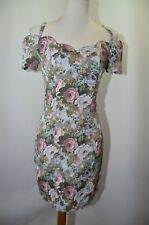 Vtg Young Edwardian Pink Silver Floral Off Shoulder Party Dress Womens 8 Usa