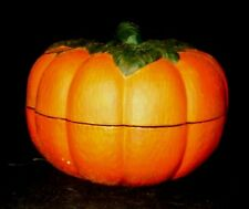 Covered Ceramic Hand Painted Pumpkin Bowl Halloween Holiday