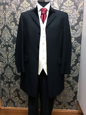 Mens Prince Edward Suit for Wedding /Occasion Black pinstripe ex-hire