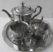 KSCo Pewter Tea Set 4-Pc Knickerbocker Art Deco Shell-Footed 1920s-30s Vintage
