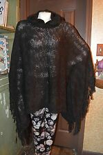 RALPH LAUREN! BLACK KNIT FRINGE PONCHO SWEATER! HOOD! NEW WITH TAGS! ONE SIZE