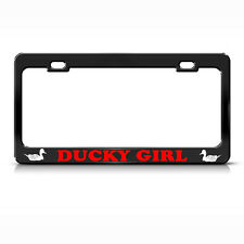 DUCK GIRL HUNTING Black License Plate Frame Tag Border