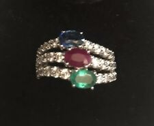 NIB: Sterling Silver Ruby, Emerald & Sapphire Ring with CZ's. Size 5