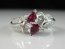14K Ruby Diamond Ring White Gold Pear Red G/VS Baguette Cocktail Fine Size 6.75