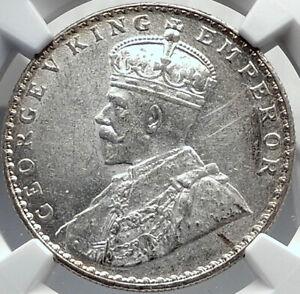 1912 INDIA UK King George V Silver Antique RUPEE Vintage Indian Coin NGC i81940