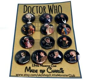 DOCTOR WHO PIN BADGES BUTTONS - Complete collection - whovian gifts - 25mm badge