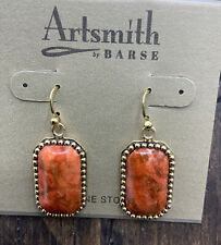 Sponge Coral- Bronze- Nwt Barse Solara Rectangular Earrings-Orange
