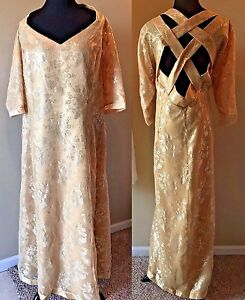 Formal Dress Plus size 2X Gold Metallic Crisscross Lattice Back Full Length DS12
