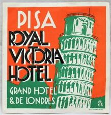 ROYAL VICTORIA HOTEL OF PISA ITALY SOUVENIR LUGGAGE LABEL DECAL VINTAGE