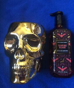 Bath Body Works 2021 Halloween Gold Skull Soap Holder Brand New In Hand