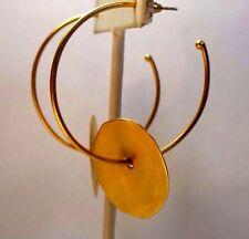 ROZ BALKIN MODERNIST GOLD HUGE HOOP DISC BRUSHED  MATTE PIERCED EARRINGS