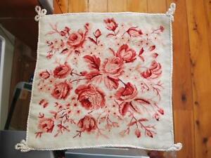 Handmade Wool Needlepoint Tapestry Rose Cushion Cover B