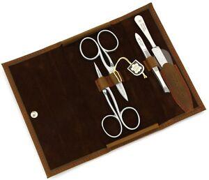 Robert klaas Solingen Manicure Set Manicure Case Men's Leather Light Brown Inox