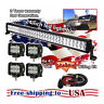 """24 inch LED Work Light Bar + 4x 4"""" CREE Led Pods ATV SUV UTE Truck Jeep Ford 20"""