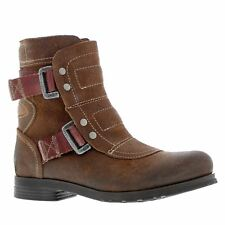 Fly London Seli 700 Brown Womens Leather Engineer Buckles Ankle BOOTS 39 EU