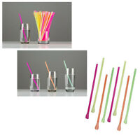 Drinking Straws Mixed Neon Colors Disposable Sorbet Plastic Spoon Straw 100pcs