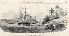 1852 Three Antique Prints - French Guiana - Iles Du Salut, Kourou, Safety Island