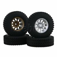 4x RC1:10 Rock Crawler 12mm Hex Raised Rubber Tyres & Silver 10 Holes Wheel Rims