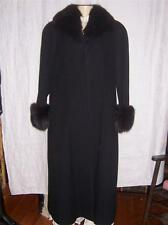 Ladies Black Wool Coat with Fox Collar and Cuffs by Alorna Made in USA Size L
