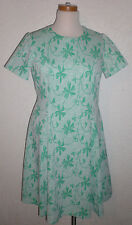 1960's 1970's Vintage Lane Bryant Dress Shift Paisley Green Buttons Polyester