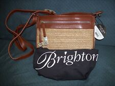 BRIGHTON HANDBAG PURSE ORGANIZER BRANDY WHEAT LEATHER & STRAW NWT