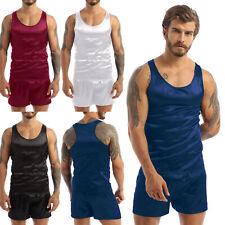Mens Sexy Pajamas Sleepwear Sets Silk Sleeveless Tank Tops With Shorts Nightgown