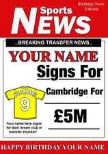 A5 Personalizzata Cambridge CALCIO greeting card compleanno qualsiasi nome, età valore