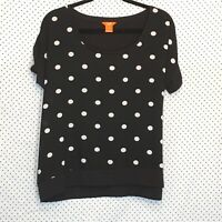 Joe Fresh XL Shirt Top Black White Polka Dot Scoop Neck Short Sleeve