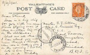1941 RP POSTCARD NORTHAMPTON  FOREST RESERVE TRINIDAD ANSON AIRPLANE HMS REVENGE