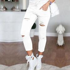 UK Womens Leggings Ladies Stretch Faded Ripped Slim Fit Skinny Denim Jeans Pants