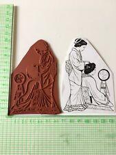 Geisha Hair Dresser. Unmounted Rubber Stamp. Unique Hand Drawn Image.