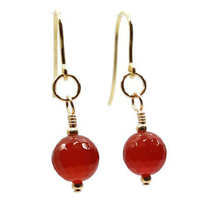 Earrings 9ct Gold Womens Faceted Cut Carnelian Gemstone Beads Fashion Statement